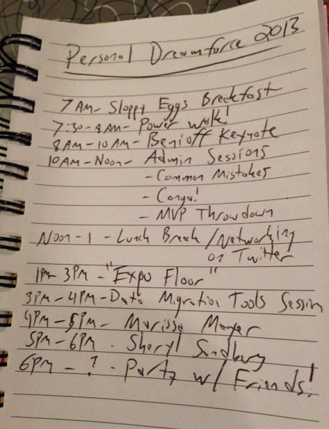 Shows times and daily plan for Personal Dreamforce